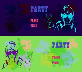 Let s Party design template with fashion girl and place for text.