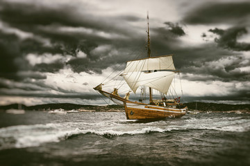 Sailing yacht under sail in a storm.  Yachting. Sailing