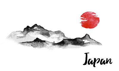 Japan traditional sumi-e painting. Indian ink illustration. Hills and mountains. Japanese picture.