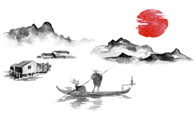 Wall Mural - Japan traditional sumi-e painting. Indian ink illustration. Man and boat. Sunset, dusk. Japanese picture.