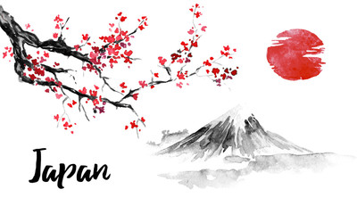 Wall Mural - Japan traditional sumi-e painting. Sakura, cherry blossom. Fuji mountain. Indian ink illustration. Japanese picture.