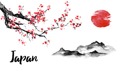 Wall Mural - Japan traditional sumi-e painting. Sakura, cherry blossom. Mountain and sunset. Indian ink illustration. Japanese picture.