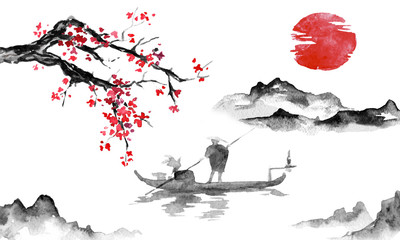 Wall Mural - Japan traditional sumi-e painting. Indian ink illustration. Man and boat. Mountain landscape with sakura. Sunset, dusk. Japanese picture.