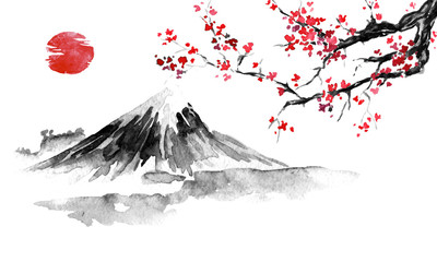 Wall Mural - Japan traditional sumi-e painting. Fuji mountain, sakura, sunset. Japan sun. Indian ink illustration. Japanese picture.