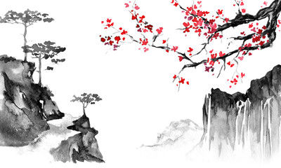 Wall Mural - Japan traditional sumi-e painting. Indian ink illustration. Japanese picture. Sakura and mountains