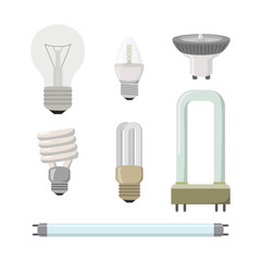 Set of different lamps on a white background.