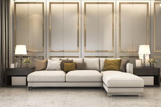 3d rendering nice soft sofa near luxury golden decor