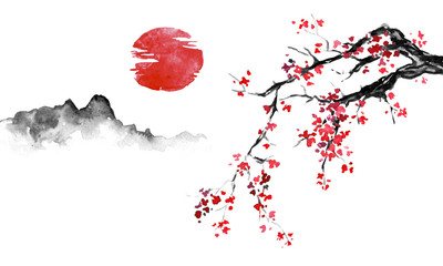 Wall Mural - Japan traditional sumi-e painting. Indian ink illustration. Japanese picture. Sakura, sun and mountain