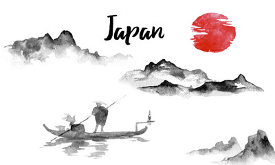 Wall Mural - Japan traditional sumi-e painting. Indian ink illustration. Japanese picture. Man and boat. Mountain landscape