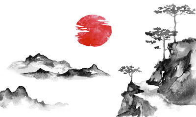 Wall Mural - Japan traditional sumi-e painting. Indian ink illustration. Japanese picture. Sun and mountains