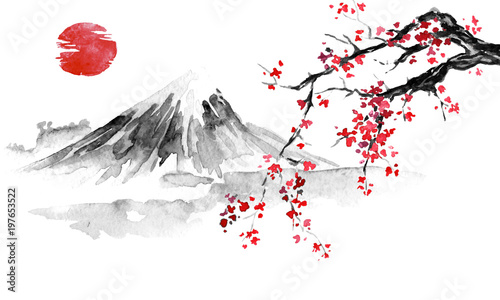 Wall mural Japan traditional sumi-e painting. Indian ink illustration. Japanese picture. Sakura, sun and mountain