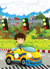 cartoon funny and happy looking asian child - boy in racing car on race track - illustration for children