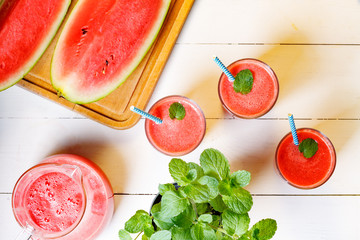 Above view on glass with fresh watermelon smoothie.