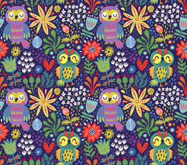 Canvas Prints Owls cartoon Seamless pattern with owls