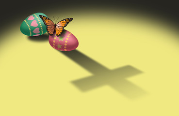 Butterfly and Easter Eggs with Christian cross shadow