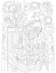 Black and white page for coloring. Fantasy drawing of firebird and fairytale medieval kingdom. Worksheet for children and adults. Vector image.