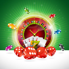 Casino Illustration with roulette wheel and playing chips on green background. Vector gambling design for invitation or promo banner with dice.
