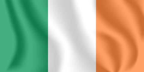 Flag of Ireland. Realistic waving flag of Republic of Ireland. Fabric textured flowing flag of Ireland.