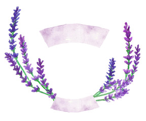 Watercolor lavender wreath with ribbons