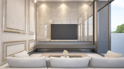 An elegant living room shows class and style , 3d rendering