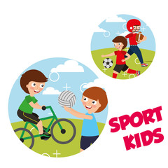 sport kids activity bycicle volleyball soccer vector illustration