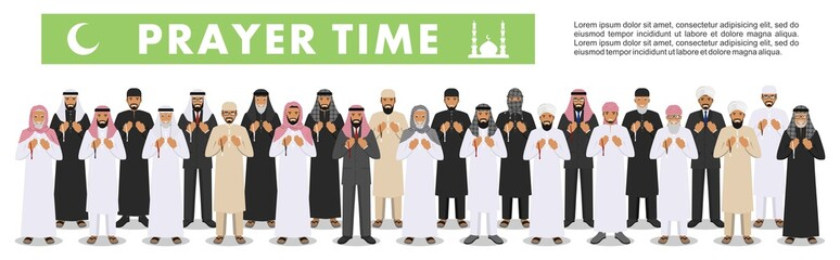 Prayer time. Different standing praying muslim arabic old and young people in traditional arabian clothes. Islamic men with beads in hands pray. Vector illustration in flat style.