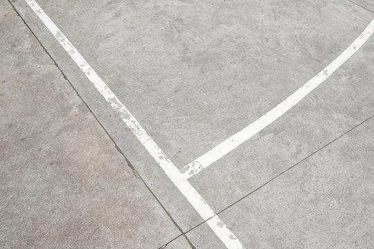 white lines on concrete floor - vintage sport background