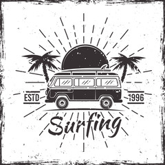 Surfing bus with palms black vectorvintage emblem