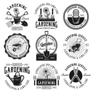 Gardening service set of emblems, badges, labels
