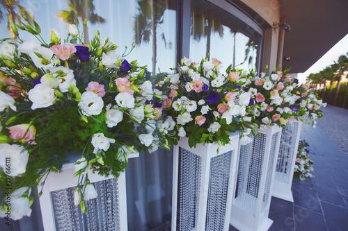 Floristic decoration process of wedding party open air stock photo floristic decoration process of wedding party open air junglespirit Image collections
