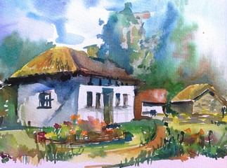 watercolor art abstract  background   landscape  bright  textured  decoration  handmade beautiful colorful  sky clouds day  village house coottege flowers summer rural ancient travel europe