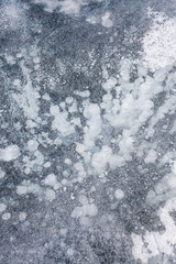 ice texture with frozen air bubbles