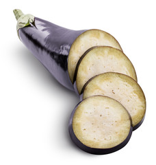 Fresh eggplant isolated with shadow on a white background