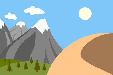 vector illustration of mountains with snow and a mountain in the desert, climate change concept