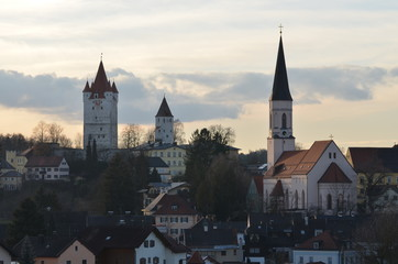 Castle and Church of Haag, Bavaria during sunset