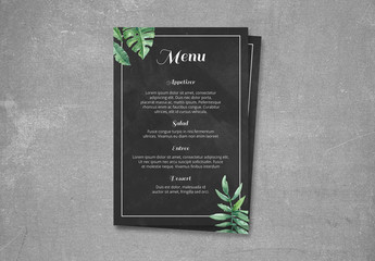 Wedding Menu Layout with Tropical Leaves