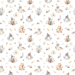 Baby animals nursery isolated seamless pattern with bannies. Watercolor boho cute baby fox, deer animal woodland rabbit and bear isolated illustration for children. Bunny forest image