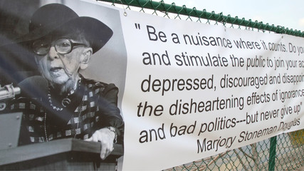 A quote by Marjory Stoneman Douglas a Florida activist and environmentalist for who the Florida high school is named after is on display in Parkland