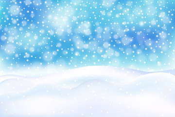 Winter illustration with falling snow, snowdrift, bokeh on blue background. New year, Christmas vector background.