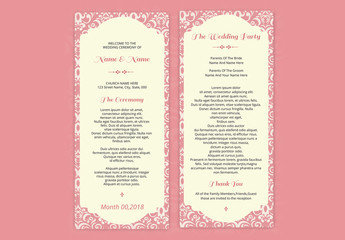 Wedding Program Layout with Pink Filigree Border