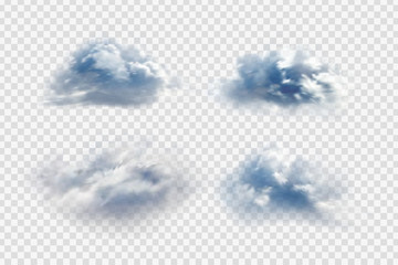 Vector set of realistic isolated cloud for decoration and covering on the transparent background.