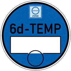 tbes6 TemplateBlueEnvironmentSticker tbes - Designmuster Vorschlag - Blaue Plakette für Fahrzeuge mit Abgasstandard: Euro 6d-TEMP - Diesel - Luftreinhalteplan / Blaue Umweltzone - xxl g5938