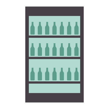 fridge with bottles drink beverages   vector illustration