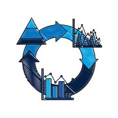 cycle arrow diagram bar graph business theme  vector illustration