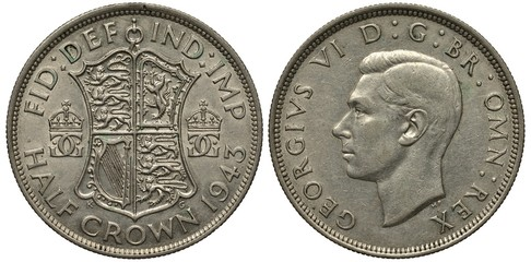 United Kingdom British silver coin 1/2 half crown 1943, WWII issue, shield with lions and harp flanked by crowned monograms, head of King George VI left,