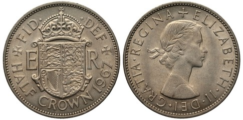 United Kingdom British coin 1/2 half crown 1967, crowned shield with lions and harp flanked by letters of monogram, bust of Queen Elizabeth II right,