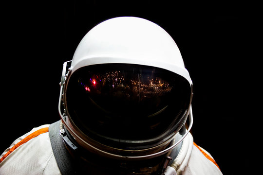 Astronaut in shadow, isolated. Cosmonaut's space suit,Gagarin
