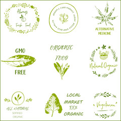 Hand drawn labels and elements collection for organic food and drink.Elements collection for food market labels, ecommerce, organic products promotion, premium quality food and healthy life.