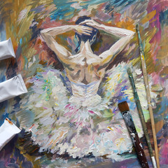 Ballerina Painting Acrylic and Full spectrum on Canvas and Cardboard artist creative painting background