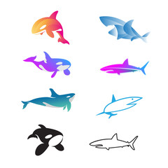 set of shark, whale logo